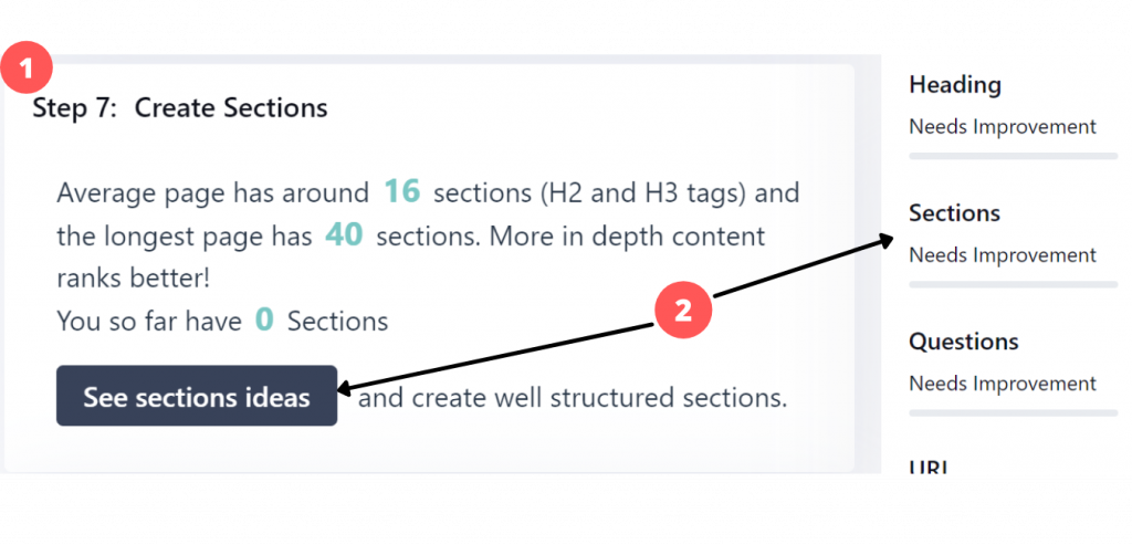create sections